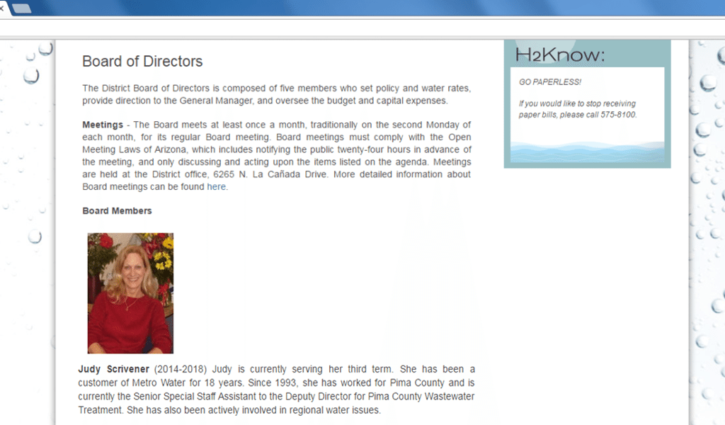 Judy Scrivener Tucson Metro Water Board Member
